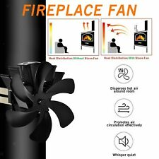 Ultra Quiet Fireplace Wood Burning Eco Fan for Efficient Heat Distribution Black VonHaus 6-Blade Twin Motor Double Heat Powered Wood Stove Fan with Temperature Gauge 6 Blade