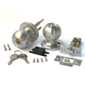 Stainless Keyed Entry Rotation Round Door Knobs Handle Entrance Passage Lock