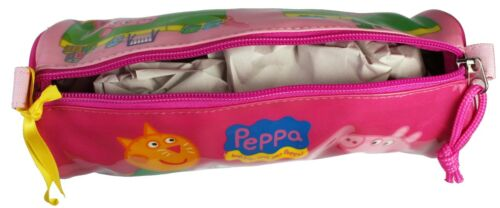 Peppa Pig George and Friends Pink Yellow and Blue School Barrel Pencil Case NEW
