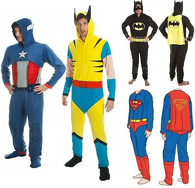 Men Marvel DC Comic Book Zip Up Union Suit Costume Pajama PJ Cap Batman Superman