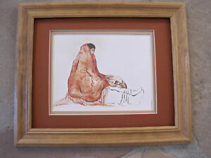 R-C-Gorman-WOMAN-WITH-BOWL-FRAMED-Navajo-print