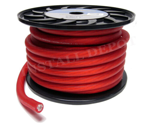 50 FT GROUND WIRE CABLE 1//0 AWG CAR AUDIO PREMIUM 0 GAUGE RED /& BLACK POWER