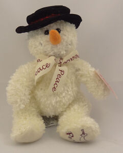 russ berrie plush peace on earth snowman 10 inch. Black Bedroom Furniture Sets. Home Design Ideas
