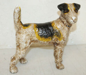 HEAVY-ANTIQUE-STYLE-CAST-IRON-TERRIER-DOG-BANK-amp-DOOR-STOP-HUBLEY