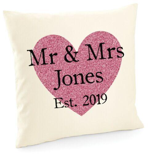 Personalised Mr /& Mrs Cushion Printed Customised Name Wedding Gift Present