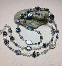 Handmade Abalone Shell Pearl Eyeglass Chain/Lanyard W/Swarovski Elements USA