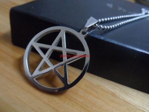 Silver//Gold Stainless steel Pentagram satanic worship Charm Pendant Necklace