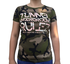 """Tunnel Shirt """"UNDERGROUND RULEZ"""" Camouflage Girls • Größe S"""
