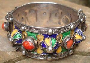 -rare Antique Bracelet Traditionnel Maroc Argent Corail émaux Afrique Du Nord Rendre Les Choses Pratiques Pour Les Clients