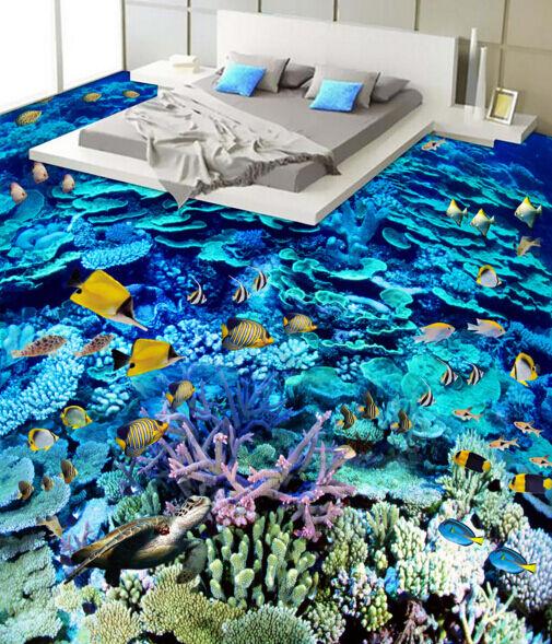 3D Coral peces fondo marino 84 Papel de parojo de Piso Impresión De Parojo Murales AJ Wallpaper Reino Unido Limón