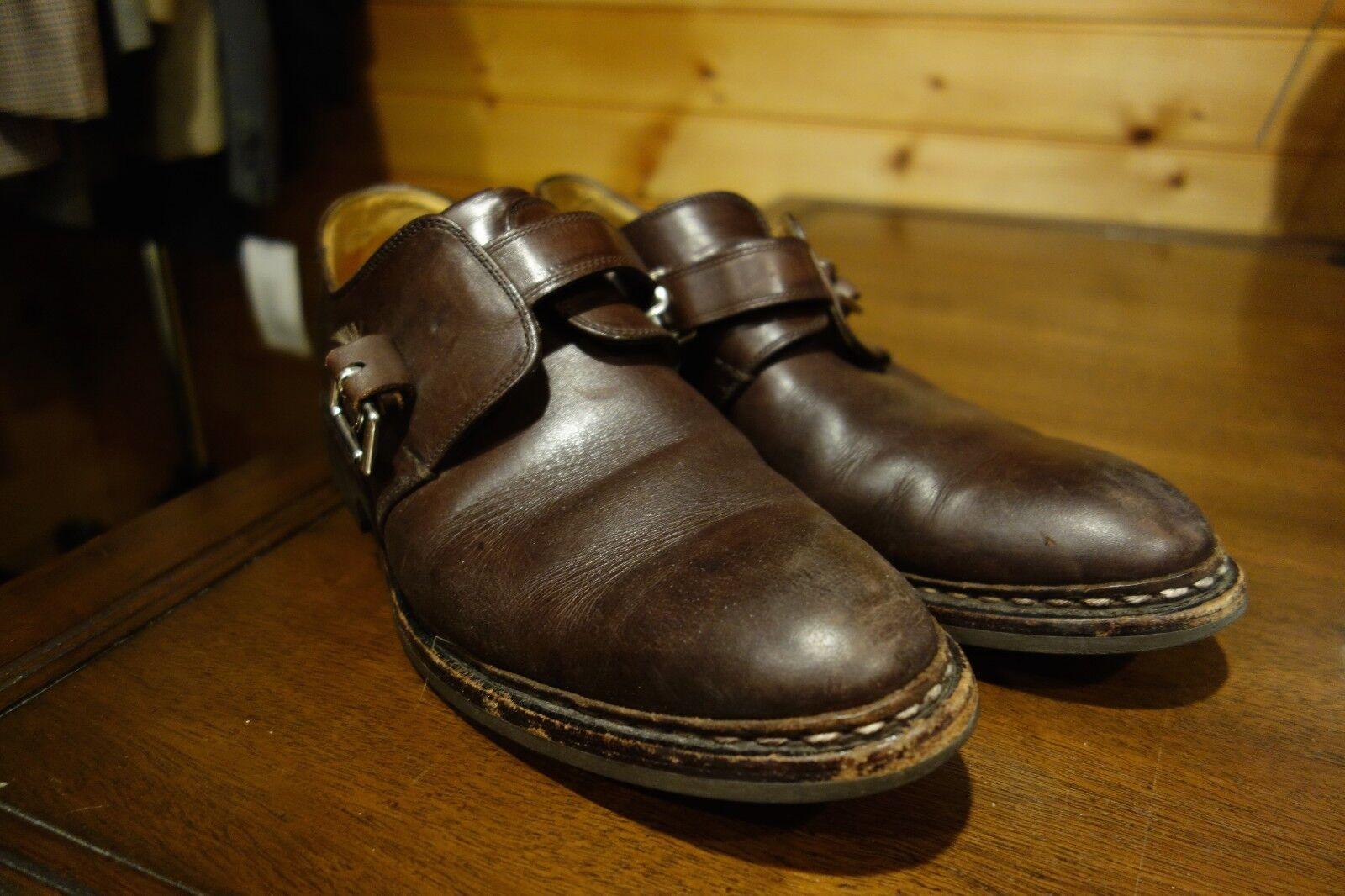 Heschung Hecho En Francia monje Cuero Marrón Correa SLIP ON DRESS zapatos talla 7
