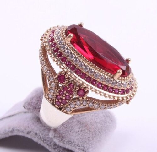Turkish Handmade 925 Sterling Silver Red Ruby Stone Ladies Womans Full Set