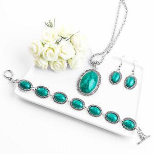Green-Oval-Turquoise-Necklace-Earring-Bracelet-Women-039-s-Thai-Silver-Jewelry-Set
