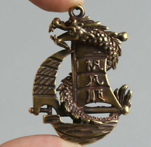 48MM-Curio-Chinese-Bronze-Animal-Lucky-Dragon-Boat-Ship-Wealth-Small-Pendant