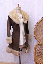 Vintage Suede Afghan sheepskin Fur collar 60s 70s penny lane coat jacket brown S
