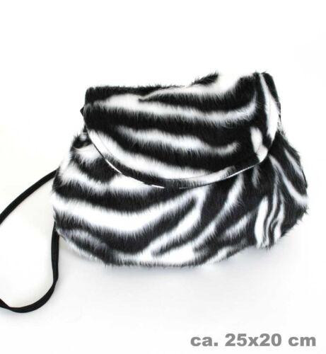 Plüschtasche Zebra schwarz//weiß Handtasche Fasching Kostüm Beutel 124570513