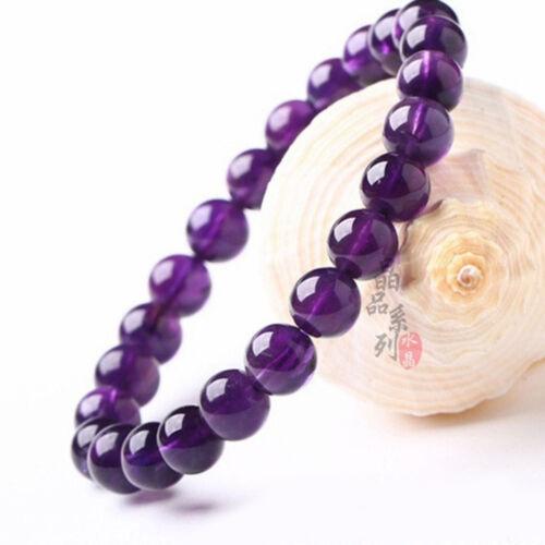 Boutique 8mm Natural Purple Glass Crystal Round Gemstone Beads Bracelet
