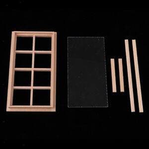 2x 1//12 Scale Dollhouse Miniature Unpainted Window Frame for Bedroom Living Room