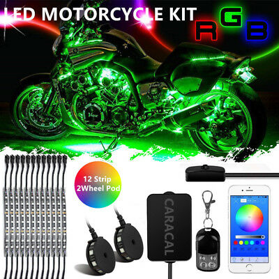 12pcs Motorcycle RGB LED Neon Under Glow Lights Strip Kit For Harley Davidson
