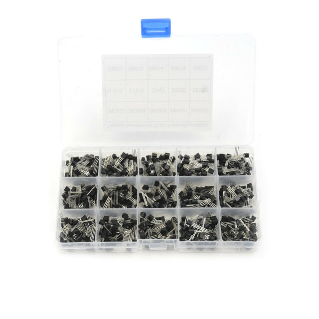 New 600Pcs (15 Value x 40 Pcs)/set Transistor TO-92 Assortment Box Kit FT