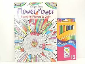 Kappa Adult Coloring Book Flower Power 30 Pages & 12 Sharpened ...
