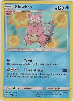 Slowbro 43//214 SM Unbroken Bonds HOLO RARE Pokemon Card NEAR MINT