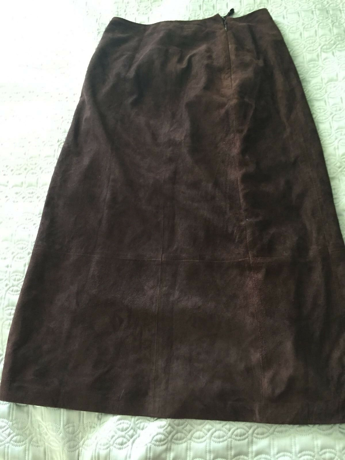 Talbots Petite Women's Skirt Sz 8 Long Brown Suede Leather Lined Skirt