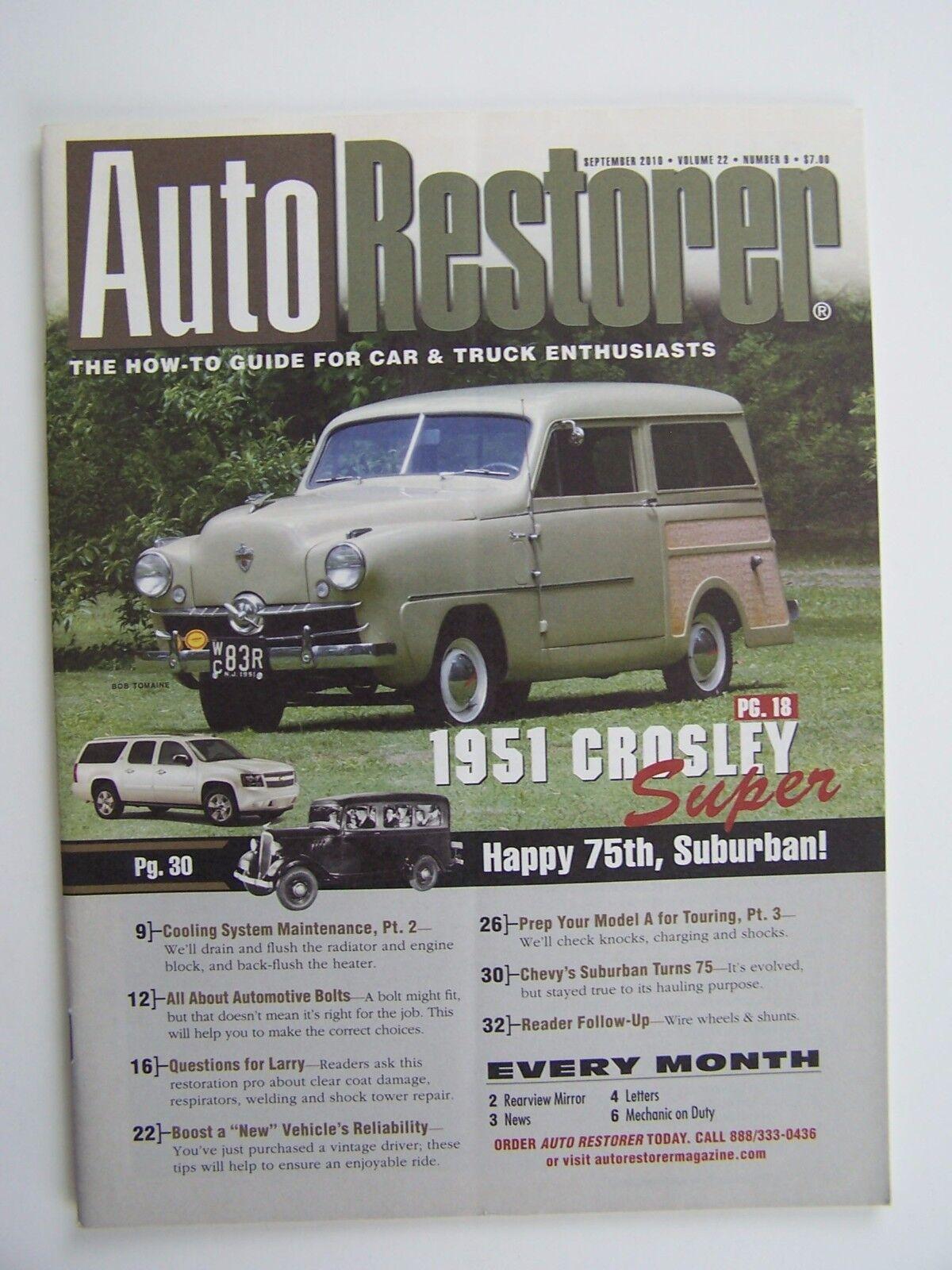 Auto Restorer Magazine September 2010 Vol 22 No 9 1951