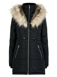5ff2277bc626 NEW ex New Look BLACK Hooded Faux Fur Trim Puffer Coat Jacket 6 8 10 ...
