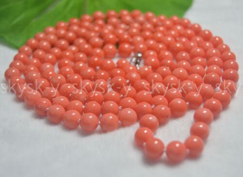 Véritable Naturel 7-8 mm Rose Corail Gemme Perles Rondes Bijoux Colliers 52 in environ 132.08 cm