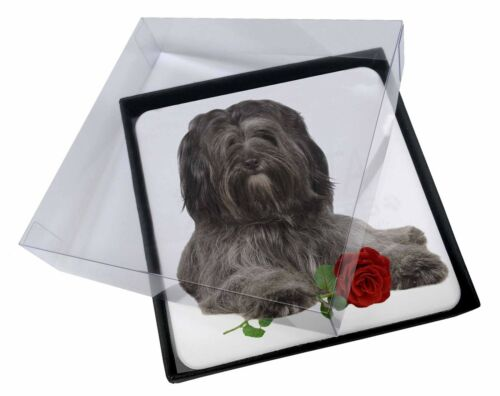 4x Tibetan Terrier with Red Rose Picture Table Coasters Set in Gift Bo, ADTT2RC