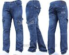 Mens CROSSHATCH Designer Cargo Combat Denim Jeans Pants All Waist & Leg Sizes
