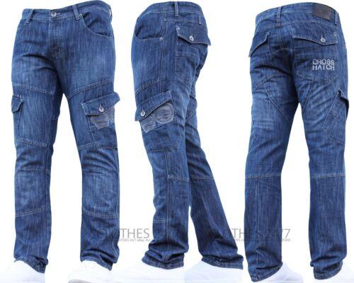 Mens CROSSHATCH Designer Cargo Combat Denim Jeans Pants All Waist /& Leg Sizes