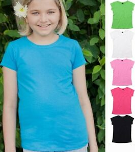 Girls-Kids-Plain-Cotton-BLACK-WHITE-PINK-LAVENDER-TURQOISE-GREEN-T-Shirt-Tshirt