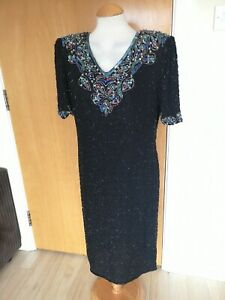 Ladies-Vintage-Dress-Size-12-Black-Heavily-Beaded-80s-Cocktail-Party-Evening