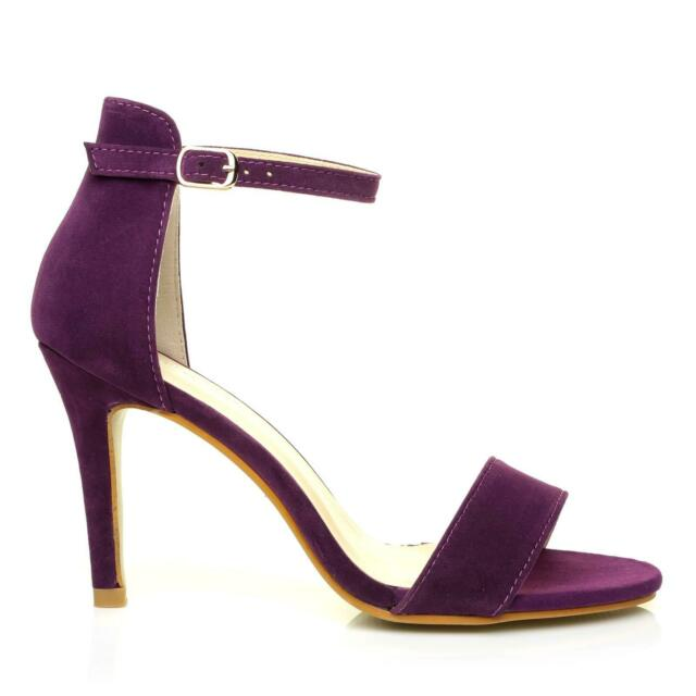 4221c12c4b6 Pam Purple Suede Ankle Strap Barely There High Heel Sandals UK 8 EU 41