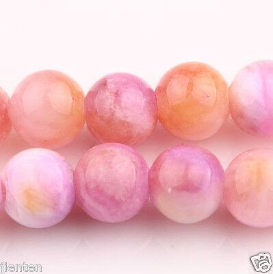 50PCS Purple&Orange Round Persian Jade Stone Spacer Beads Gemstone Jewelry 6mm