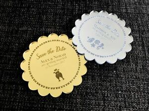 Engraved-Gold-Silver-Mirror-Acrylic-Wedding-Save-the-Date-Round-Style-w-Magnet