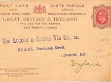 GB ASIATIC TEA CO. Stationery Reply Card Used SWITZERLAND *Neuchâtel* 1907 GS66