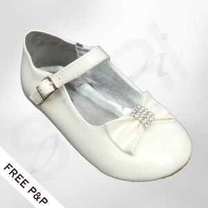 1a4c2fc56987 Image is loading BABY-GIRLS-CHRISTENING-SHOES-IVORY-CREAM-WEDDING-FLOWER-