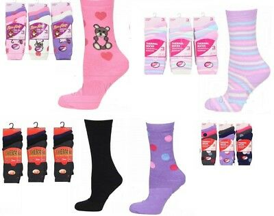 Size 4-7 12 Pairs Of Ladies Design Thermal Socks Thick Warm Winter Boot Socks