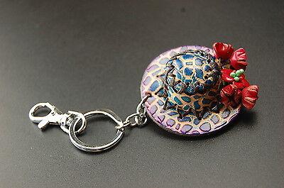 Gunuine Leather Handmade Miniature Hat Keychain Charm Ring Bag//Car Declaration