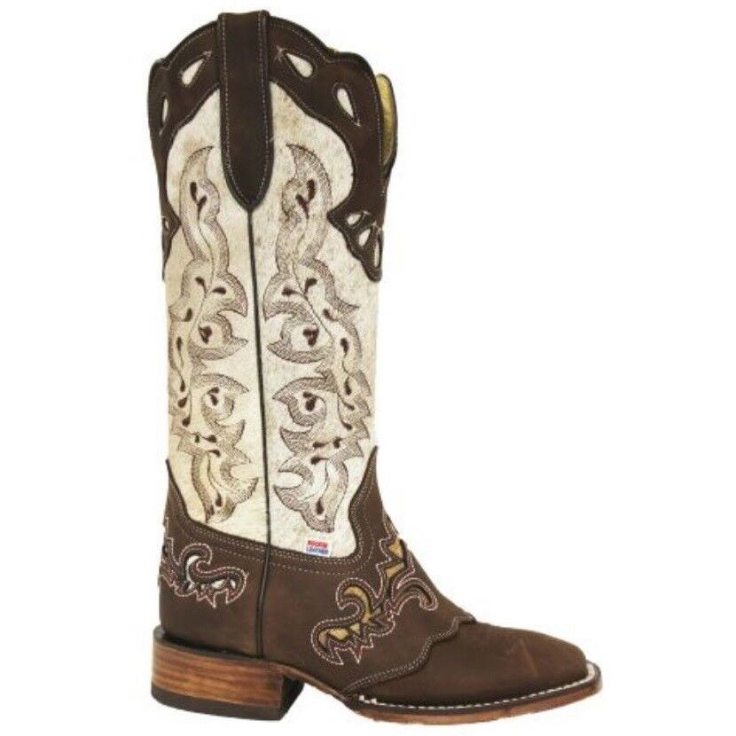 RockinLeather Ladies Distressed White/Brown Boot 2157