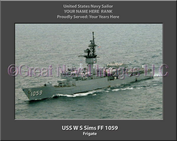 USS W S Sims FF 1059 Personalized Canvas Ship Photo Print Navy Veteran Gift