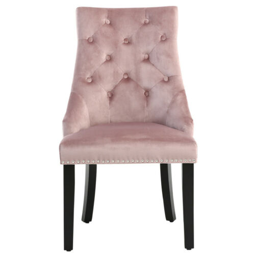 Velvet Dining Chair Dressing Chairs Studs Button Back Retro Legs Seat Bedroom