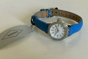 NEW-FOSSIL-STAINLESS-STEEL-BLUE-GENUINE-LEATHER-STRAP-WATCH-BQ3145-95-SALE