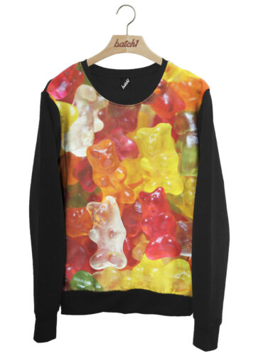 BATCH1 GUMMY BEARS ALL OVER FASHION PRINT NOVELTY JELLY SWEETS UNISEX SWEATSHIRT