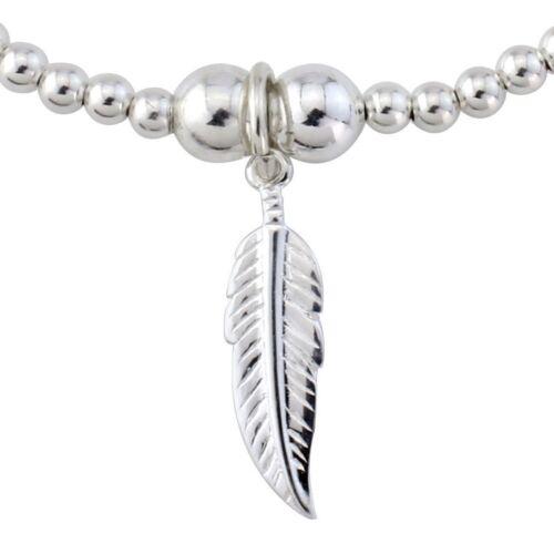Angel De Plumas De Plata Esterlina con cuentas encanto pulsera