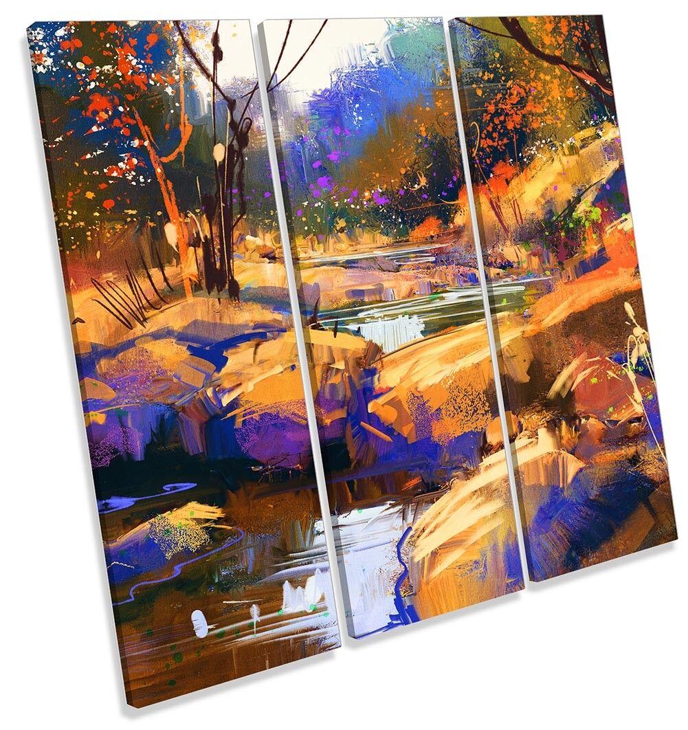 BOSCO BOSCO BOSCO Paesaggio Astratto Immagine TREBLE TELA Wall Art Print 75ce78