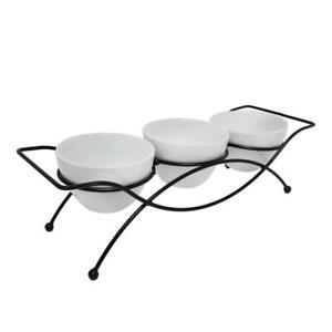 Porcelain Serving Bowl Set with Metal Rack - 4 Pcs. Appetizer Serving Bowls Set